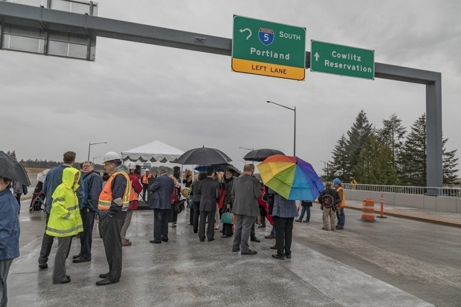 A small crowd of area residents and community leaders joined leaders and members of the Cowlitz Indian Tribe Tuesday afternoon to celebrate the opening of the new Interstate 5, Exit 16 interchange. Photo by Mike Schultz