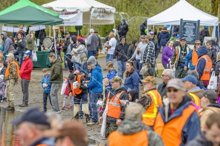 A estimated total of 3,200 children participated in the annual Klineline Kids Fishing event Friday and Saturday at Salmon Creek Park/Klineline Pond in Vancouver. Photo by Mike Schultz