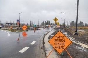 Drivers who use Interstate 5 near La Center should plan for overnight delays this week. Contractor crews working for the Cowlitz Tribe will detour I-5 traffic via the La Center off- and on-ramps (Exit 16) for bridge demolition work. Photo by Mike Schultz