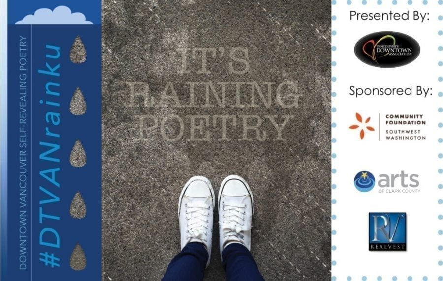 Vancouver's Downtown Association is hosting a public art project called 'Rainku' this month in celebration of National Poetry Month. The project features poetry on public sidewalks, which are activated when it rains. The downtown association has published a Rainku map showing all 24 of the poetry locations in downtown Vancouver. Photo courtesy of Vancouver's Downtown Association