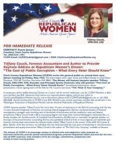 Forensic Accountant and Author Tiffany Couch to provide the keynote address at the next Clark County Republican Women's Dinner, May 19.