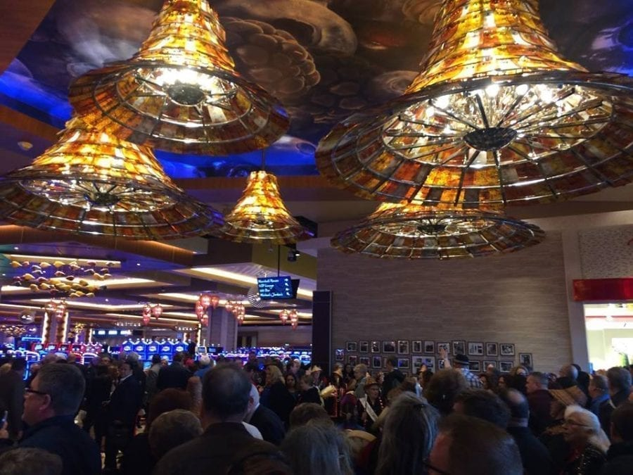 "Battle Ground resident Nathan Cano and Camas resident Rich Geenty were among those who attended Monday's opening of the ilani Casino. Both said the facility exceeded their expectations and described it as ""Vegas style.'' Photo by Mike Schultz"