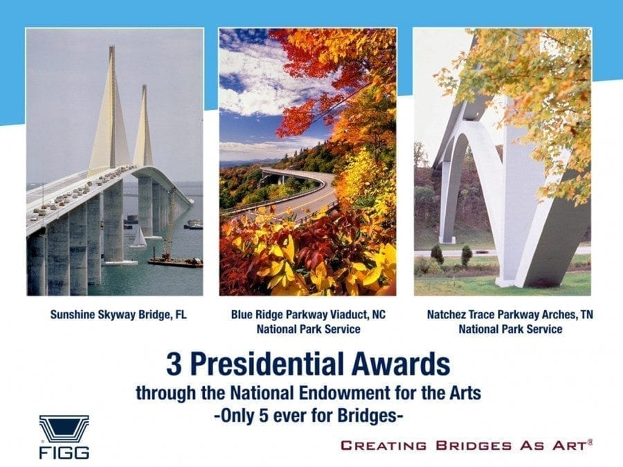 Figg Bridge Builders has won three Presidential Awards through the National Endowment for the Arts. There's only been five total for bridges, and Figg has won three of those five. The publication Roads & Bridges rated the top 25 bridges ever built, and named six constructed by Figg Bridge Builders in that list of 25. Photos courtesy of Figg Bridge Builders