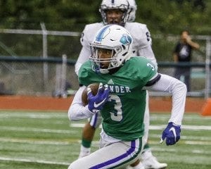 Darien Chase (3) is shown here while playing football for Mountain View last fall. Chase announced on Wednesday that he will be playing in the fall at Union High School. Photo by Mike Schultz