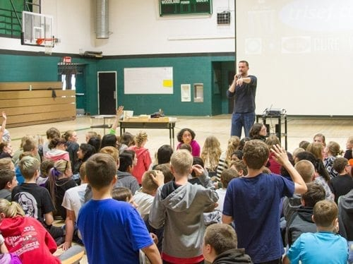 Following his recent presentation at Woodland Middle School, Chad Trisef held a Question-and-Answer session for students and staff members. Photo courtesy of Woodland Public Schools