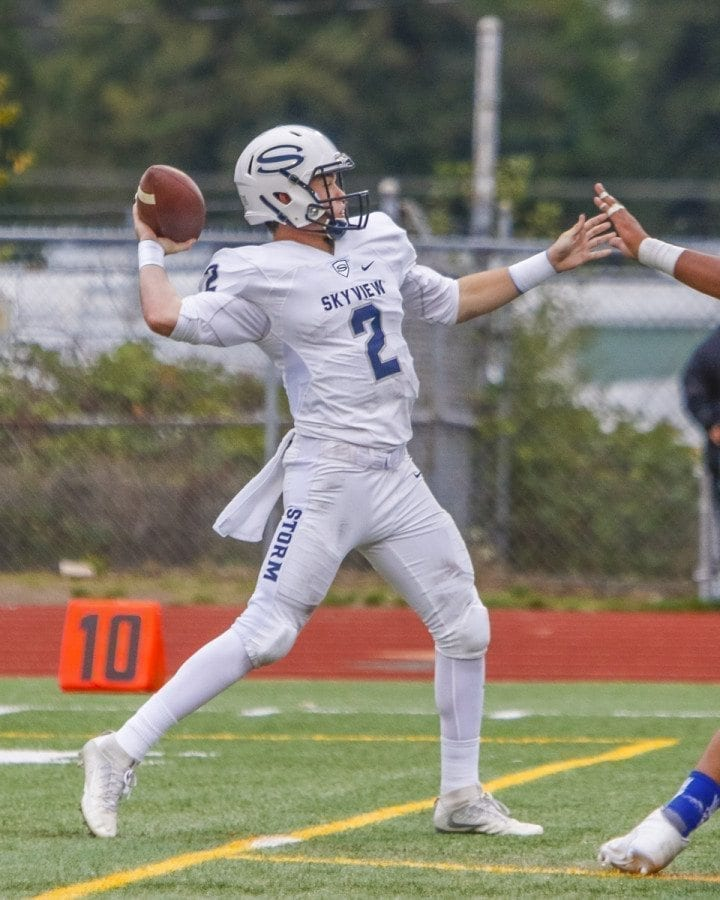 Skyview quarterback Brody Barnum (2) is shown here in a game last fall. Barnum led the Storm to a regional victory in the Class 4A state playoffs on Nov. 19, 2016, the most successful sports day of the past year for Clark County teams. Photo by Mike Schultz