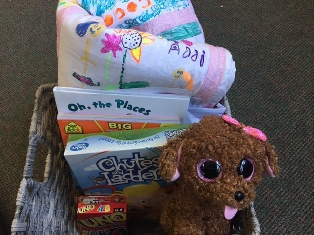 Students in the Older-Young kindergarten program in the Battle Ground School District also assembled this care basket to deliver to an area youth in the hospital receiving treatment for cancer. Photo courtesy of Battle Ground School District