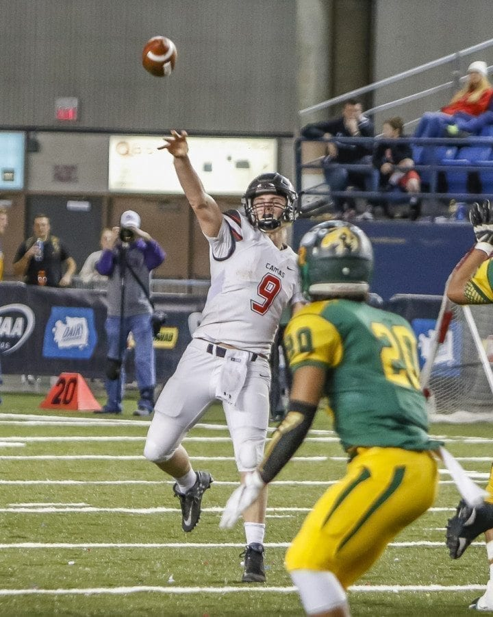 Camas quarterback Jack Colletto (9), shown here in the Class 4A state championship game, announced Tuesday that he is headed to Arizona Western Junior College to play football. Photo by Mike Schultz