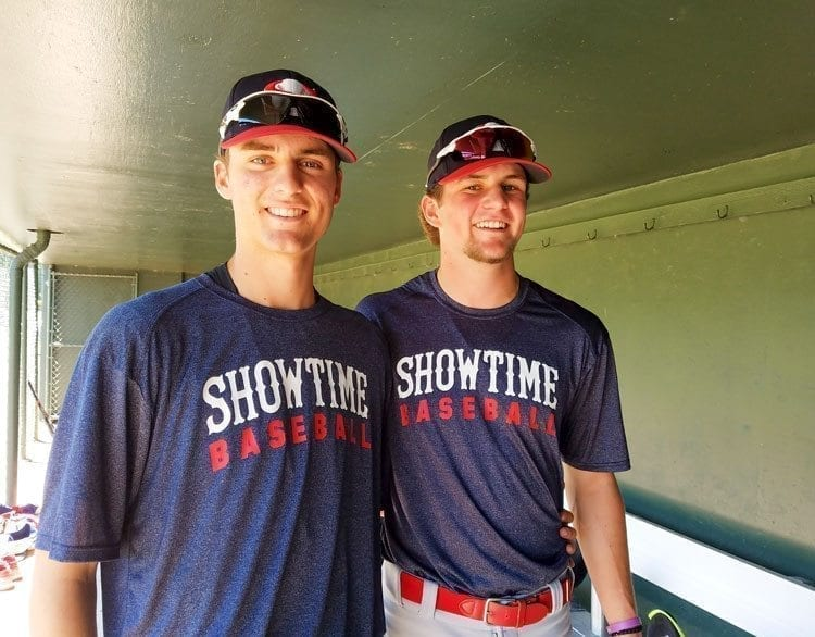 Damon Casseta-Stubbs (left) and Daniel Copeland (right) are two of the key players on this year's Showtime Baseball team. Photo by Paul Valencia