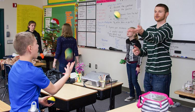 Students at Woodland Middle School joined an eight-week club to learn how to juggle, but ended up learning much more.
