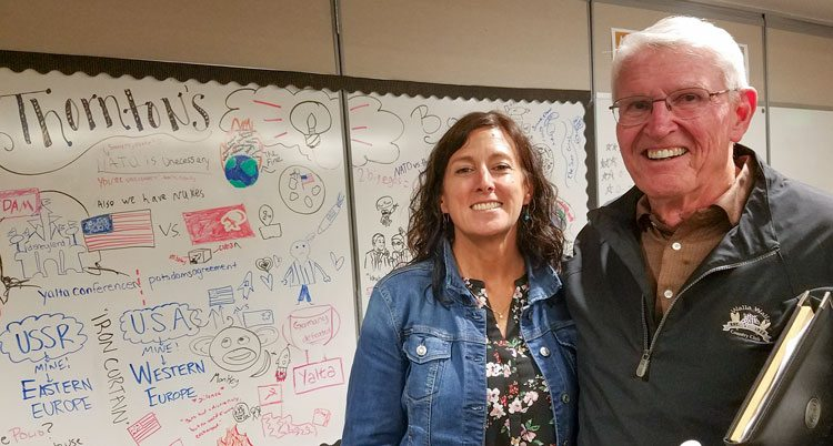 Camas High School history teacher Lori Thornton (left) invited retired Brigadier General Robert P. McFarlin to her class to give her students a first-hand account of the Cold War. Photo by Paul Valencia