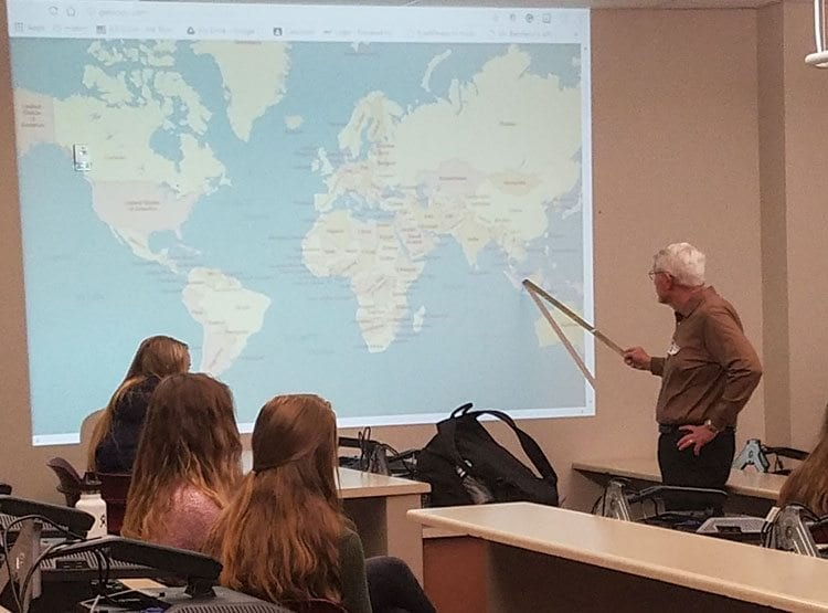 Retired Brigadier General Robert P. McFarlin said he has been to more than 50 countries. Last week, he shared some of his experiences with students in Lori Thornton's history class at Camas High School. Photo by Paul Valencia