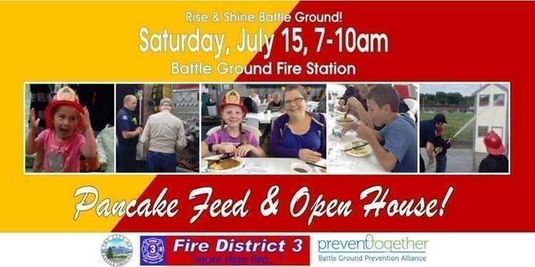 Clark County Fire District 3 will hold a Pancake Feed and Open House Sat., July 15, 7-10 a.m. at the Battle Ground Fire Station, located at 505 SW 1st St., in Battle Ground. Photo courtesy of city of Battle Ground