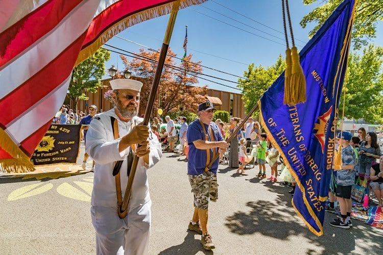 Members of Camas VFW Post 4278 had the honor of carrying the flags in the 2017 Camas Days parade Saturday. Photo by Mike Schultz