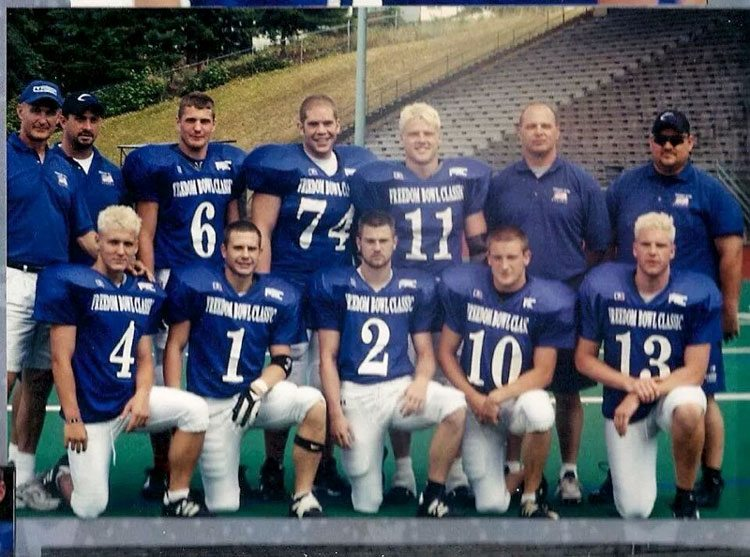 Mountain View had eight players representing the Thunder in the first Freedom Bowl Classic back in 2002. Josh Baird (2) would go on to catch the winning touchdown pass from Ben Huebschman (13) on the final play of the game. Photo courtesy of Ben Huebschman