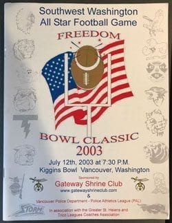 Photo of the program cover for the first Freedom Bowl Classic.