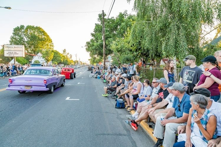 Area residents and visitors lined Main Street in Battle Ground Friday evening for the 5th annual Harvest Nights Cruise In. Photo by Mike Schultz