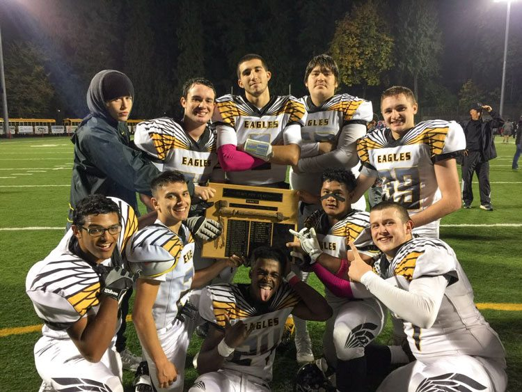 The Hudson's Bay Eagles had more celebratory moments after football games last fall than in any of the past three seasons combined, finishing with a winning record. Four of the players - Jared Bacon, Jordan Hickman, Sergio Vega-McBride, and Casey Wishon - will represent Hudson's Bay at the 2017 Freedom Bowl Classic. The all-star game is Saturday night at McKenzie Stadium. Photo courtesy of Jordan Hickman