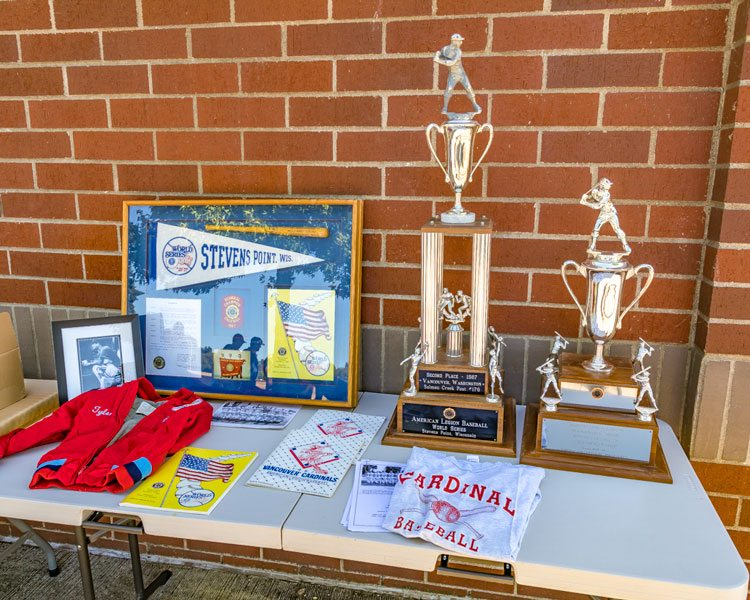 Among the mementos for the 1987 season are two trophies. The big one is the second-place trophy from the World Series. The other is the first-place trophy from the regional tournament. Photo by Mike Schultz