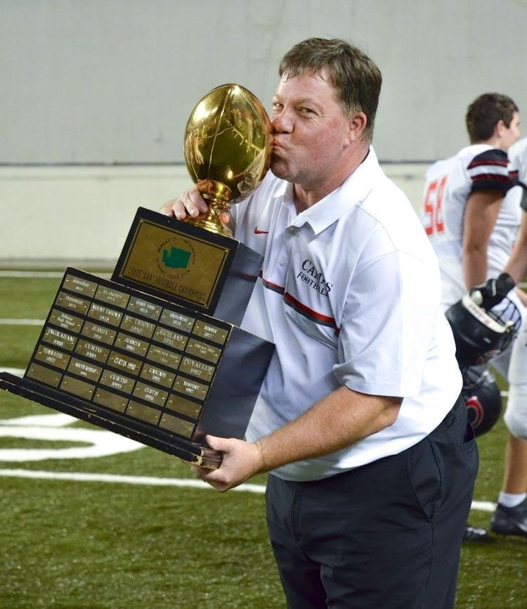 Tom Schroeder would love to bring home a state trophy to King's Way Christian football one day. An assistant coach at Camas for a dozen years, Schroeder is the new head coach at King's Way. Photo by Kris Cavin.