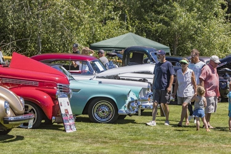 Head-turning classic cars filled Holley Park in La Center Saturday for the annual Car Show at the 2017 Our Days Celebration. Photo by Mike Schultz