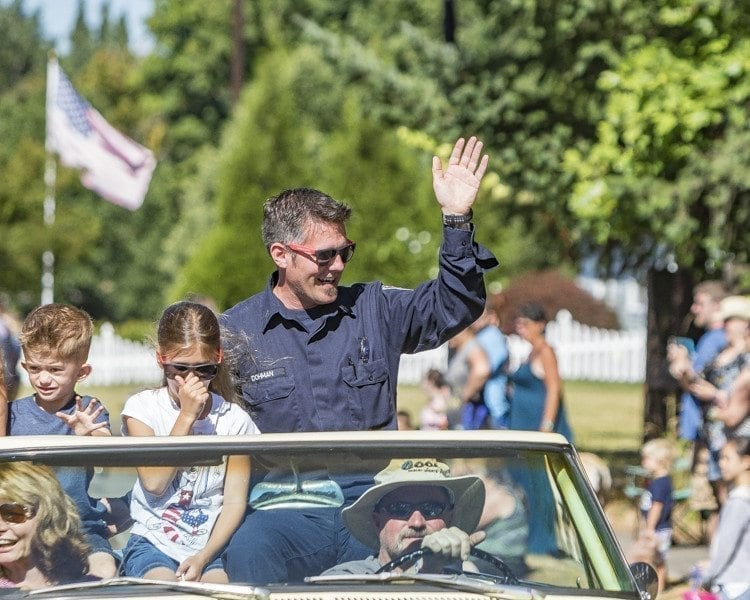 Blaine Dohman, captain at Clark County Fire & Rescue's La Center station, served as grand marshal of the 2017 Our Days Parade Saturday. Photo by Mike Schultz