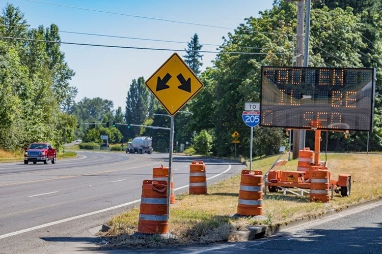 Northeast Padden Parkway, from its intersection with Northeast 78th Street east to Andresen Road, will close this weekend so a contractor can repair surface defects and pave the roadway. Photo by Mike Schultz