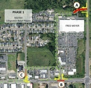 This map shows Phase I improvements for the city of Battle Ground's SR-502/503 Congestion Relief Project. Map courtesy of city of Battle Ground