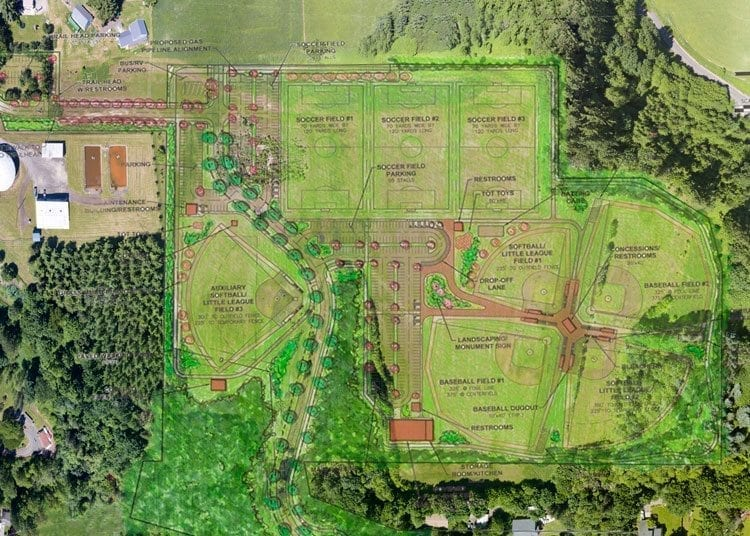 This overlay shows the plans for the Scott Hill Park and Sports Complex in Woodland. Officials hope the three phases of construction on the complex will be completed in three to five years. Overlap provided by city of Woodland