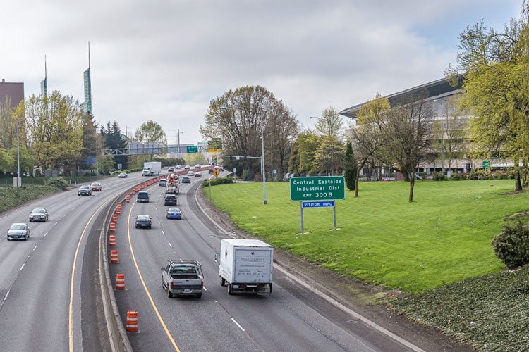 If Oregon lawmakers gain federal approval, drivers on I-5 (shown here near the Rose Quarter in Portland) and I-205 will have to pay tolls. The Oregon Department of Transportation has until the end of 2018 to ask the Federal Highway Administration for permission to toll drivers. Photo by Mike Schultz
