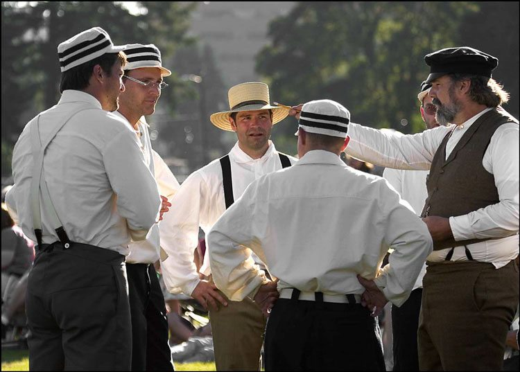 Staff and volunteers are shown here portraying members of the Occidental Baseball Club of Vancouver at the annual Vintage Base Ball special event at Fort Vancouver National Historic Site. Photo courtesy of National Park Service
