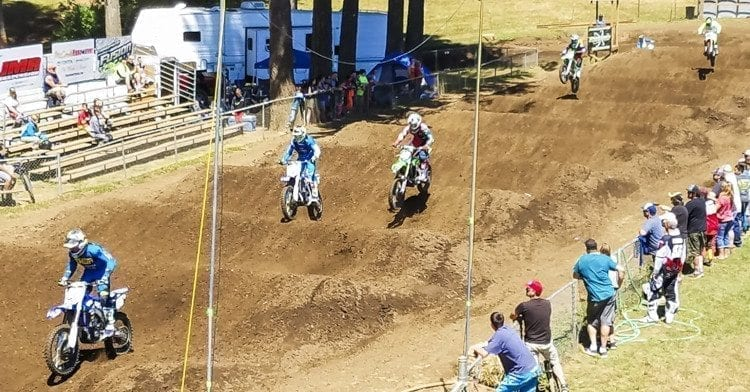 "Pro riders on a practice run Thursday through the ""Whoops"" section of the Washougal MX Park. The Washougal MX National on Saturday is expected to attract more than 20,000 fans. Photo by Paul Valencia"