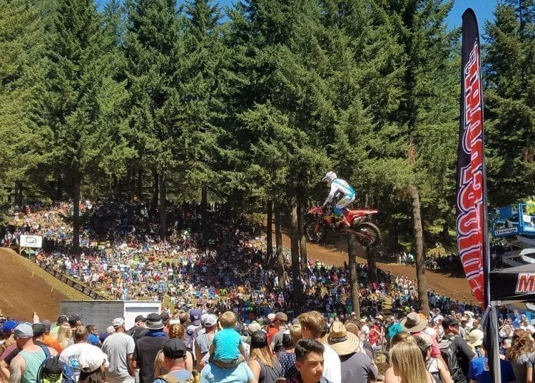 The Trees. The fans. The riders. All make for an experience at the Washougal MX Park. Photo by Paul Valencia