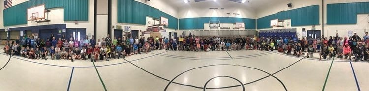 At a recent assembly, Woodland Intermediate School Principal Steven Carney took a panoramic photo of all the school's students wearing hoodies and shorts, Harley Gatica's preferred attire. Photo courtesy of Woodland Public Schools