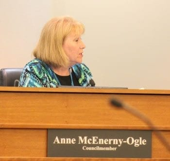 Council Member Anne McEnerny-Ogle gave a positive endorsement of Vancouver City Manager Eric Holmes prior to a vote Monday to increase the city manager's salary. Photo by Alex Peru