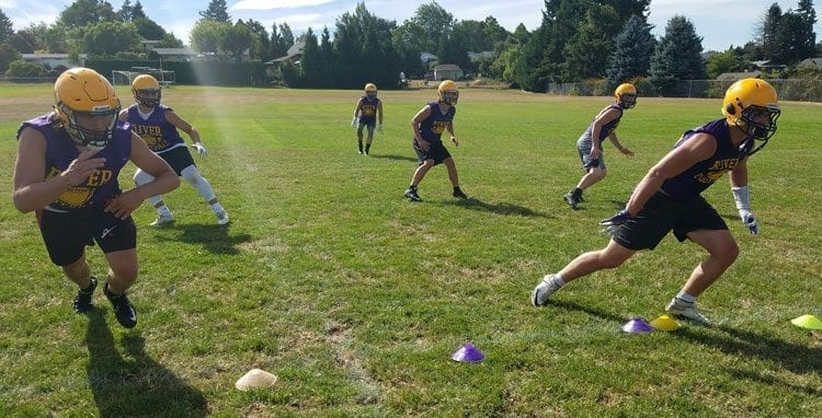 """Columbia River's defense has a chance to be """"special,"""" the coach said. The Chieftains will need their defense to be top of the line while the offense takes time to get in a groove with a new offensive line. Photo by Paul Valencia"""