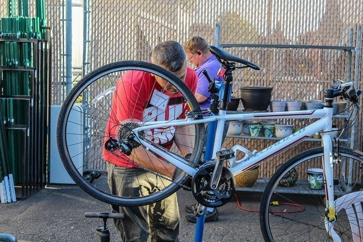 In addition to smaller items, several attendees brought bicycles in to the Repair Café for repairs. Photo by Alex Peru