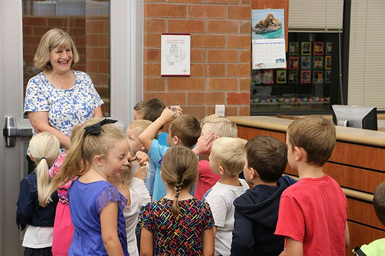 Incoming Daybreak Primary School kindergartners tour the library. Photo courtesy of Battle Ground Public Schools