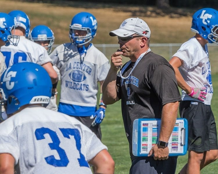 La Center coach John Lambert is entering his 18th season as coach of the Wildcats. Last season, La Center advanced to the semifinals of the Class 1A state high school football playoffs and the Wildcats have even loftier goals for 2017. Photo by Mike Schultz