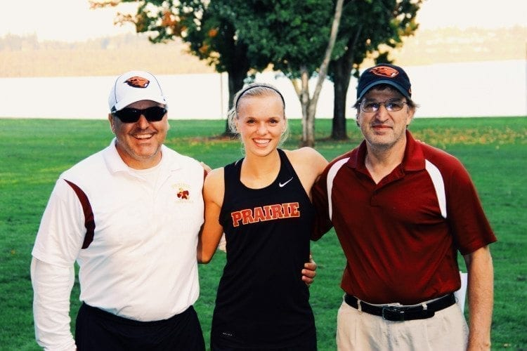 Phil Phimister, right, was a teacher and cross country coach at Prairie High School for more than 30 years before retiring two years ago. His family announced his death earlier this week. Curtis Crebar, left, was friends with Phimister for 17 years. Nicole Goecke, a 2014 Prairie graduate, credits Phimister for helping her reach her potential. She now competes for Oregon State.