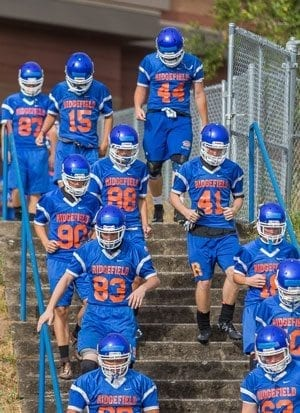 After winning three of their final four games last season, the Ridgefield Spudders couldn't wait to get back to practice for the upcoming 2017 high school football season. Photo by Mike Schultz