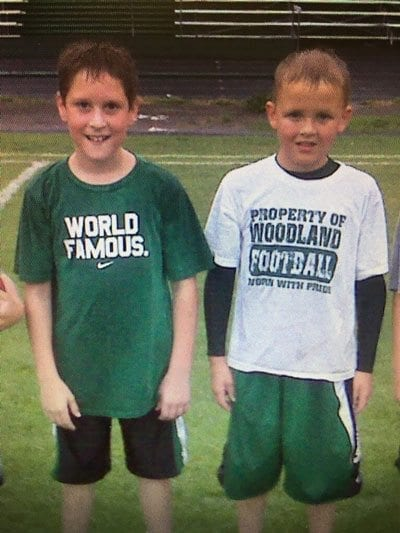 Wyatt Harsh, left, and Tyler Flanagan were fans of the Woodland Beavers long before they attended the school. Photo courtesy of the Flanagan family