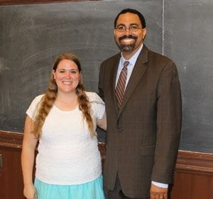While attending a four-week institute at Georgetown University, Woodland High School teacher Katie Klaus met current Secretary of Education Betsy DeVos and former Secretary of Education John King (pictured here). Photo courtesy of Woodland Public Schools