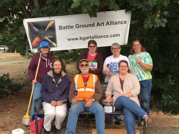 The contributing artists and members of the Battle Ground Art Alliance who volunteered their talents and time are (from left to right) Dotty Yackle-Kay, Jane Poole, Ron Koch, Nicole Hazen, Julie Koch, Garri Linardos, and Cheryl Hazen. Not pictured: Michael Kay. Photo courtesy of city of Battle Ground