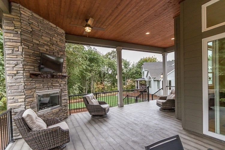 Like several of the houses at the NW Natural Parade of Homes, The Genesis had a spacious covered outdoor living area integrated into the design. Photo by Mike Schultz