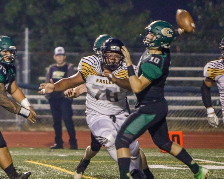 Evergreen quarterback Triston Fich (10) completed 13 of his 22 pass attempts in a win over Hudson's Bay last week. Photo by Mike Schultz