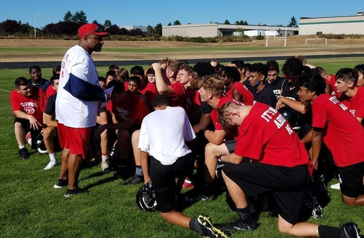 Fort Vancouver coach Steve Broussard and the rest of his coaching staff and the Trappers' players are working on a long-range project to change the culture of the team's football program. Photo by Mike Schultz