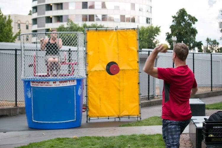 Give More 24! participants could benefit the Police Activities League of Vancouver and Leadership Clark County by trying their hand at a dunk tank at Luxe restaurant in Vancouver. Photo courtesy of High Five Media