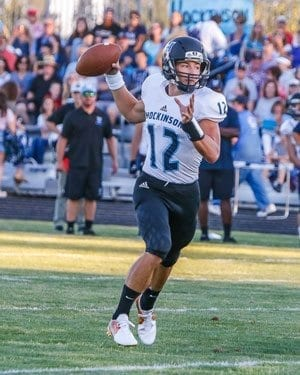 Hockinson quarterback Canon Racanelli (12) was the Hawks' MVP in the first week of the season according to Coach Rick Steele. Photo by Mike Schultz