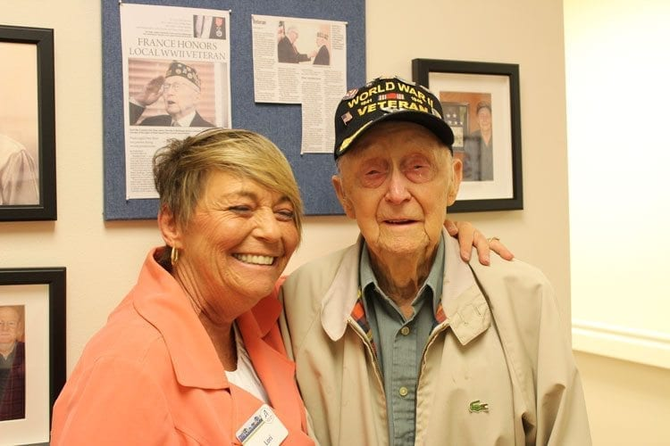 Lori Anderson and Army veteran Fernald Shaw shared a close bond over the Hall of Honor, with Shaw expressing deep gratitude for Anderson's work to complete the hall. Photo by Alex Peru